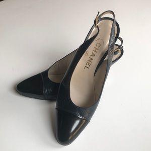 Chanel slingback cap toe leather heels 37